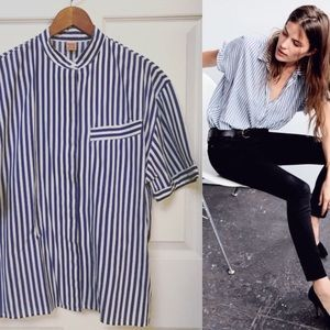 Vintage Striped Popover Button Up Shirt